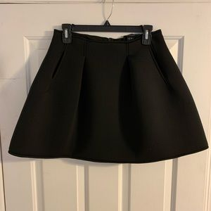 Olivaceous flared mini skirt black pockets scuba M